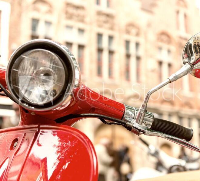 red vespa headlight